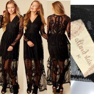 Altar'd State Bellmeade Lace Maxi Dress Long Sleev